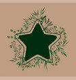 star frame with laurel leafs vector image vector image