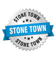 Stone Town round silver badge with blue ribbon vector image vector image