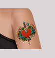 tattoo on shoulder heart pierced with dagger vector image vector image