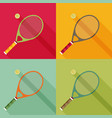 tennis racket and ball icon with long shadow flat vector image vector image