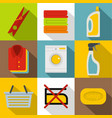 washing clothes icons set flat style vector image vector image