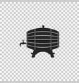 wooden barrel on rack with stopcock icon isolated vector image vector image