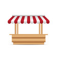 wooden market stand stall with red and white vector image vector image