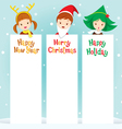 Children In New Year Costume With Banner vector image
