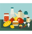 A lot of different food on the table vector image