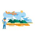 airplane taxi in flight over high mountains vector image vector image