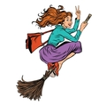Beautiful woman witch flying on a broom vector image vector image