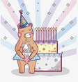 birthday party with bear vector image