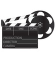 black movie clapperboard and film vector image vector image