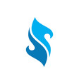 blue fire letter s logo icon concept vector image vector image