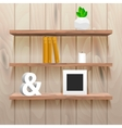Book shelves in room interior with decor vector image vector image