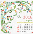 Calendar for 2016 August vector image vector image