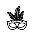Carnival mask with feathers icon simple style vector image vector image