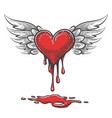cartoon bleeding heart with wings vector image vector image