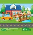 children standing on the bridge in front of house vector image vector image
