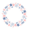 christmas hand drawn wreath pink and blue floral vector image vector image