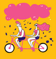 collection of hand drawn couple take bike vector image