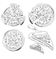 Collection of sliced pizza vector image vector image