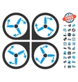 Copter Screws Rotation Icon With Free Bonus vector image vector image