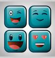 cute emoji emoticons emotional faces icons vector image vector image