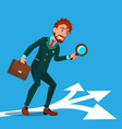 detective investigating searching clues cartoon vector image