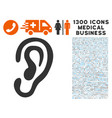 Ear icon with 1300 medical business icons vector image