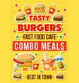 fastfood burgers restaurant menu vector image vector image