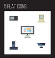 flat icon computer set of display processor pc vector image vector image
