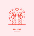 gift in box flat line icon souvenir vector image vector image