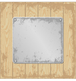 grunge wooden background with plaque vector image