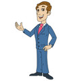 happy businessman welcoming gesture 2 vector image vector image