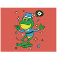 hipster frog cartoon t shirt design vector image vector image