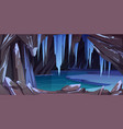 ice cave in mountain grotto with frozen lake vector image