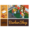 isometric barber shop composition vector image vector image