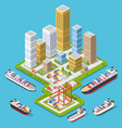 isometric city boulevard vector image vector image