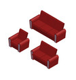 isometric sofa and armchair set vector image vector image