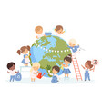 kids help save world children cleaning up vector image vector image