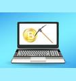 laptop computer displaying bitcoin mining vector image