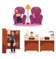 library - reading man armchair table bookshelf vector image vector image