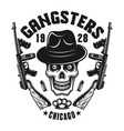 mafia emblem gangster skull in hat with two guns vector image vector image