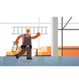 male builder carrying ladder and hacksaw busy vector image vector image