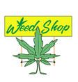 marijuana shop logos with hemp leaves and smoking vector image vector image