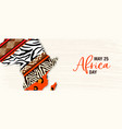 may 25 africa day banner animal print map vector image