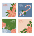 merry christmas winter greeting cards set vector image vector image