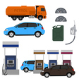 Petrol station set design Flat with cars Fuel vector image vector image