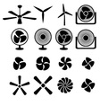 set fans and propellers icons vector image vector image
