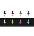 set lightning bolt icon isolated on black and vector image vector image