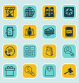 set of 16 ecommerce icons includes dollar vector image vector image