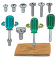 set of screw and screwdriver vector image