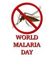 Sign for world malaria day vector image